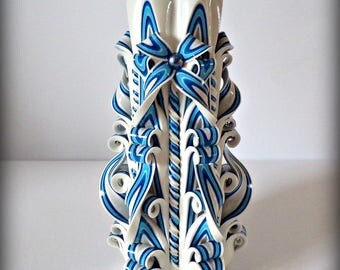 Candle, Christmas gift ideas, gift ideas, white, blue, gzhel, Russian, gift, present, carved candle, carved candles, birthday