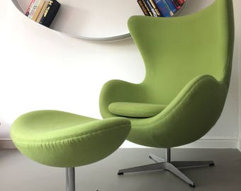 Design Vintage Green Egg Chair Retro Swivel Armchair with footstool