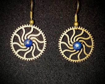 Sun gear steampunk earrings