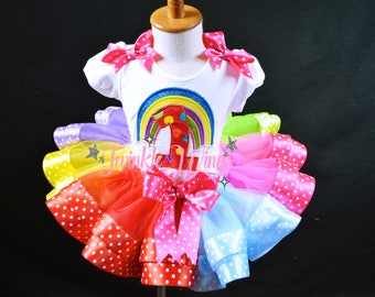 Rainbow Birthday Outfit  Rainbow Ribbon Tutu Set Over The Rainbow Outfit- First Birthday Dress Rainbow - Personalized Shirt