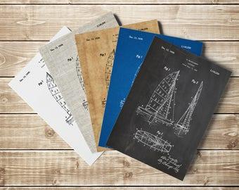 Collapsable Sailboat, Sailboat Art, Sail Wall Art, Sailing Wall Decor, Sailor Printable, Sail Printable,Sailboat Blueprint, INSTANT DOWNLOAD