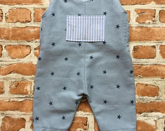 Boys blue star print romper, toddler outfit, baby boys romper, newborn baby gift, blue for boys, button detail, gifts for boys, bespoke boy