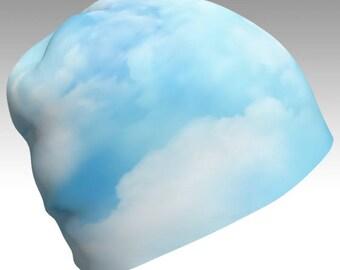 Cloud Beanie, Blue Beanie, Festival Beanie, Gypsy Hat, Slouch Beanie, Cloud Hat, Air Spirit, Print Beanie, Boho, Unisex Beanie, Eco Friendly