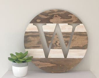 Monogram Round Sign - Initial Sign - Surname Sign - Modern Rustic Home Decor - Farmhouse Decor - Living Room Decor - House Warming Gift