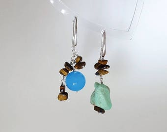 Silver earrings with various stones