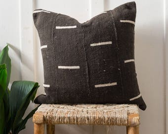 African Mudcloth Pillow Cover - Dash (Black)