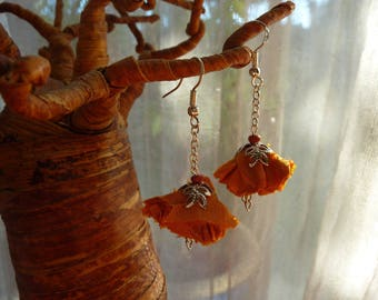 Earrings orange fabric with Pearl flower Woods vintage and silver metal