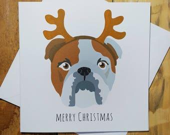 Christmas Cards, English Bulldog Card, Funny Christmas Card, Dog Christmas Cards, Cute Holiday Card, Bull Dog Art, Merry Christmas