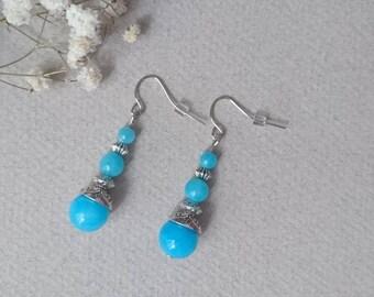 Turquoise jade stone earrings