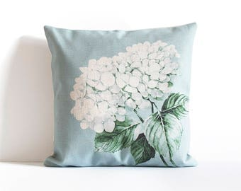 Blue Hydrangea Throw Pillow Cover,  Pillow Covers, Throw Pillow, Decorative Pillow Covers, Sofa throw pillows, Couch pillow covers