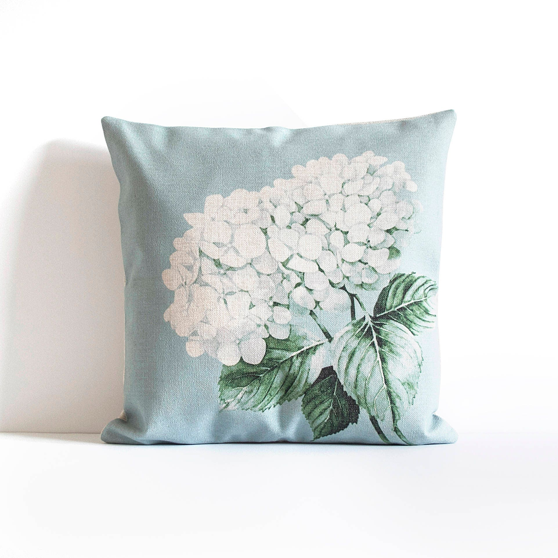 Blue Hydrangea Throw Pillow Cover Pillow Covers Throw