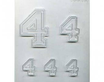 "Collegiate Number ""4"" Chocolate Candy Mold"