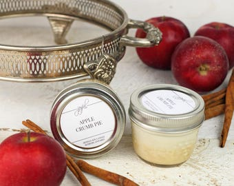 Soy Candle | Mason Jar Candles | Food Gift | Container Candles | Homemade Candles | Dessert Scented Candle | Apple Crumb Pie 4 oz Candle