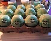 Tubby Turtle Bath Bomb - Bath Fizzy - Bath Soak - Pear - Turtle - Sea Turtle - Green - Hand Painted - Kids - Fun - Gift Idea