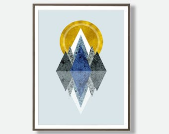 Mountain Prints, Abstract Mountain Art, Geometric Poster, Printable Mountain Art, Mountain Wall Art, Digital Mountain Art, Mountian Art