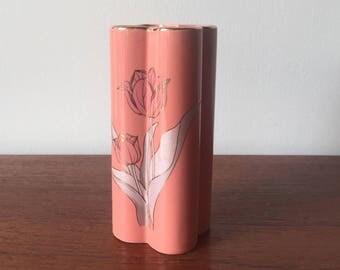 Peach pink floral vase
