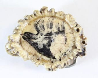 Antler Button Belt Buckle... Elk Head and Signed by the Artist .... Vintage Condition