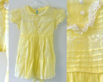 Vintage 1950s Yellow Ruffled sheer TINY TOTS Baby Dress with White Lace