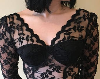 Vintage 80s Solana Bustier Black Lace Long Sleeves 32B // 32A
