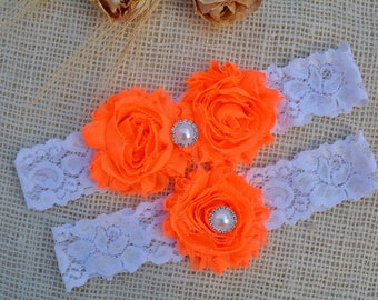 Wedding Garter Set, Bridal Garter, Wedding Garter Belt, Orange Wedding Garter, Rustic Garter Set, Lace Bridal Garter, Rustic Wedding Garter