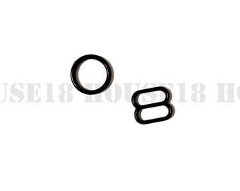 "10mm 3/8"" Plastic Ring and Slider Bra Strap Adjuster Bra Making Supplies 