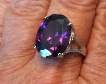 Alexandrite Ring Size 6 3/4 1980's 13ct Alexandrite Color Changing Magenta Fuchsia Estate Vintage Sterling Ring