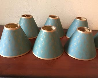 Set of 8 Elegant Vintage Chandelier Lampshades with Fleur de Lis Pattern