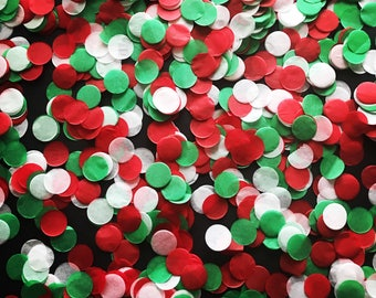 Red Green and White 'Christmas' Tissue Paper Confetti