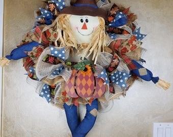 Fall Scarecrow wreath. Fall Wreath, Scarecrow Wreath, Front Door Decor, Fall Decor, Wall Decor
