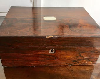 Polished wood box with inset mother of pearl antique