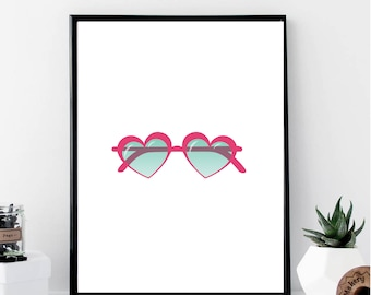 Heart Sunglasses Print // Minimalist // Wall Art // Typography // Fashion // Scandinavian // Boho // Modern Office