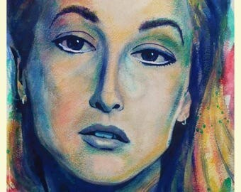 MERYL STREEP Custom Watercolour Portrait