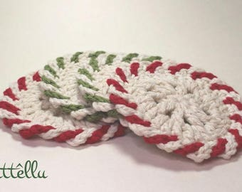 Peppermint Christmas Coasters / Set of 4 or 8 handmade crochet coasters / Christmas decoration