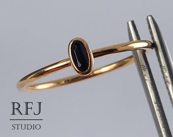 Rose Gold Plated Oval Synthetic Onyx Silver Ring, Oval Black Onyx 14K Rose Gold Plated Ring, Stacking Dainty Gold Plated Black Gemstone Ring