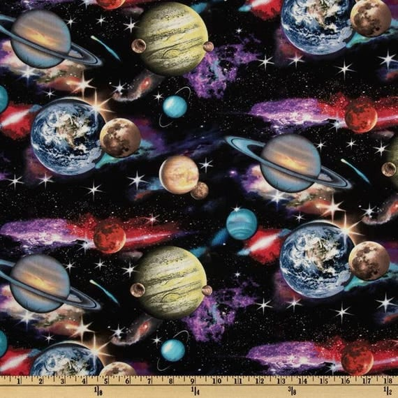 Elizabeth 39 s studio in space planets solar system 100 for Space fabric by the yard