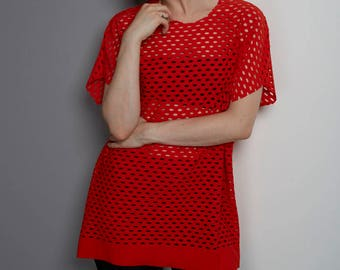 Red Airtex T-Shirt - Resort wear, Holiday Wardrobe, Ladies Top