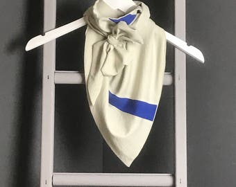 Cream and Blue Triangle Scarf, Drape Scarf, Ladies Scarves