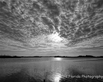Black and White, Photography, Sunset, Florida, Digital Download