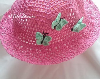 Fuchsia cotton hat with butterflies