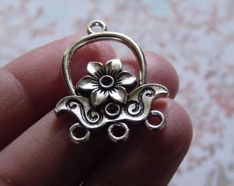 3 Hole Earring Connectors, Flower Chandelier Connector, Antique Silver Flower Necklace Connectors, Earring Findings, Earring Components