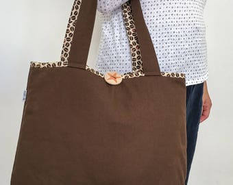 Tote Bag Brown beige coffee beans shoulder bag with handprinted wooden button sea star