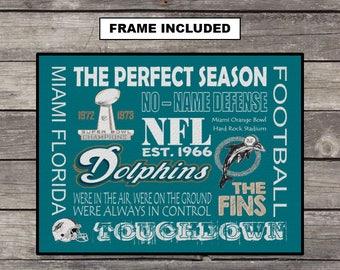 Miami Dolphins, Framed Miami Dolphins, Dolphins Fan, Color Print, Sports Decor, Man Cave, Wall Decor, Football Decor, Bar Signs