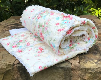 Shabby Chic Quilt, Baby Rag Quilt, Toddler Quilt, Girl Quilt, Baby Shower Gift, Baby Quilts Handmade, Homeade Quilts,  Shabby Chic Baby