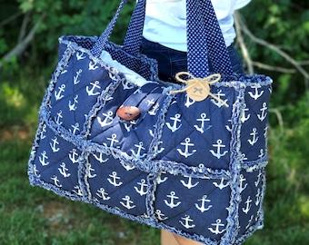 Girl Tote, Large Beach Bag, Weekender Bag, Nautical Bag, Large Tote Bag, Overnight Bag, Travel Tote Bag, Summer Bag, Beach Tote, Anchor Bag