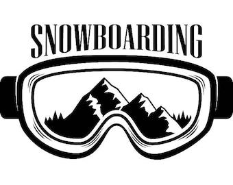 Snowboarding Logo #3 Snowboarder Snow Board Skiing Helmet Google Mask Winter Extreme Sport .SVG .EPS .PNG Clipart Vector Cricut Cut Cutting
