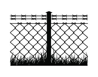 Barbed Wire Fence #1 Chain Link Straight Razor Barb Fencing Jail Protection Security Prison .SVG .EPS .PNG Clipart Vector Cricut Cut Cutting