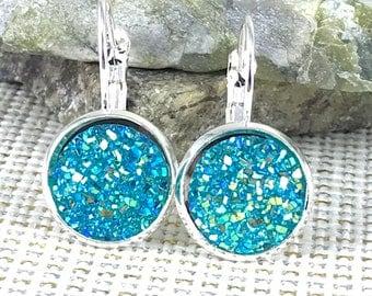 Turquoise Druzy Earrings - Druzy - Leverback Earrings - Druzy Jewelry - Turquoise - Bridesmaid Earrings - Flower Girl Gift - Drusy - Earring