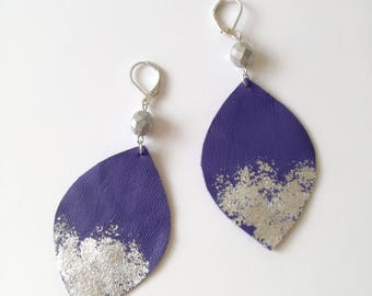Purple Leather  Earrings, long earrings, bohemian earrings,Boho jewelry. Leather jewelry