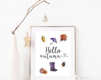 Hello Autumn Quote A4 Print