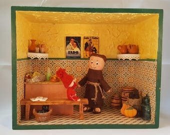Portuguese 3D Diorama St. Antony's at a tavern - 3D Portuguese Diorama- 3D Diorama- For a collector- Gift for him- Gift for her